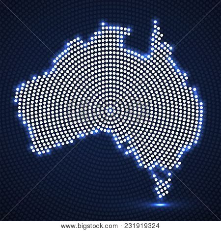 Abstract Australia Map Of Glowing Radial Dots. Vector Illustration, Eps 10