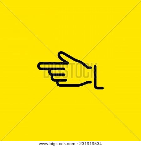Line Icon Of Palm Showing Direction. Direction, Indication, Advertising. Gesture Concept. Can Be Use