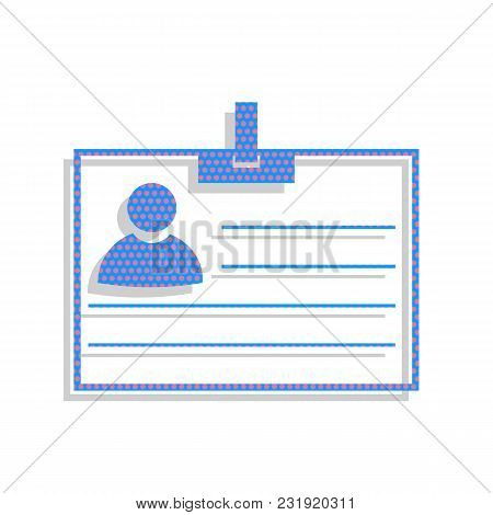 Id Card Sign. Vector. Neon Blue Icon With Cyclamen Polka Dots Pattern With Light Gray Shadow On Whit