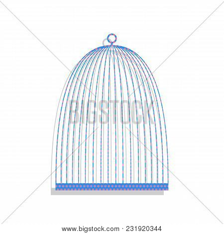 Bird Cage Sign. Vector. Neon Blue Icon With Cyclamen Polka Dots Pattern With Light Gray Shadow On Wh