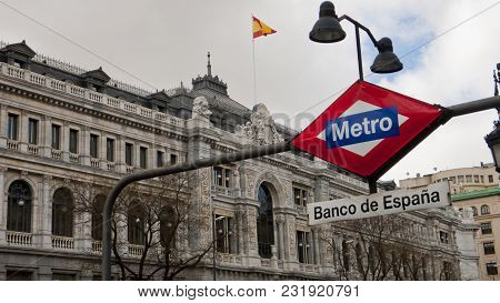 Madrid, Spain - March 15, 2018: View Of The Bank Of Spain, Spanish National Reserve Bank, Madrid. Ba