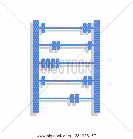 Retro Abacus Sign. Vector. Neon Blue Icon With Cyclamen Polka Dots Pattern With Light Gray Shadow On