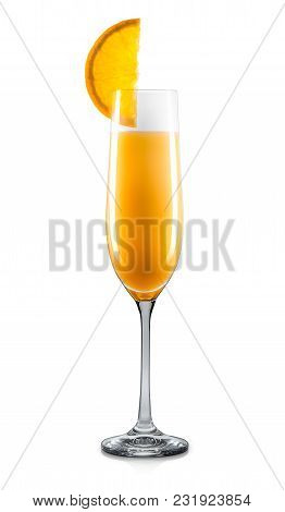 Mimosa Cocktail In Champagne Glass With Slice Of Orange Isolated On White Background. Clipping Path