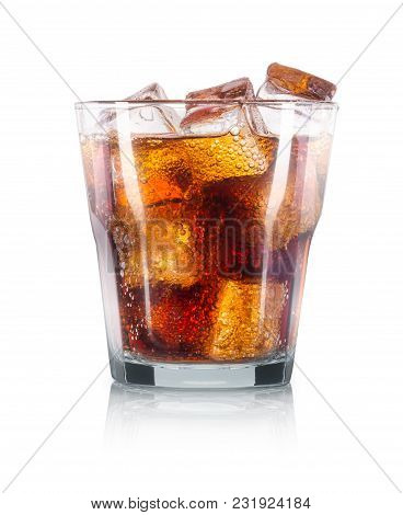 Cola Cocktail With Ice Cubes Or Cuba Libre Isolated On White Background. Clipping Path