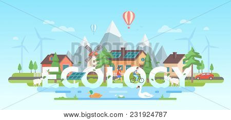 Landscape With Mountains - Modern Flat Design Style Vector Illustration On Blue Background. A Compos