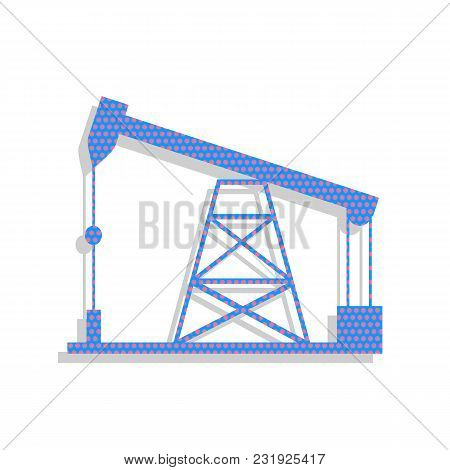 Oil Drilling Rig Sign. Vector. Neon Blue Icon With Cyclamen Polka Dots Pattern With Light Gray Shado