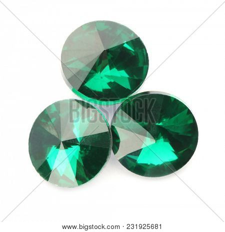 Precious stones for jewellery on white background