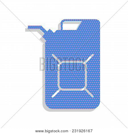 Jerrycan Oil Sign. Jerry Can Oil Sign. Vector. Neon Blue Icon With Cyclamen Polka Dots Pattern With