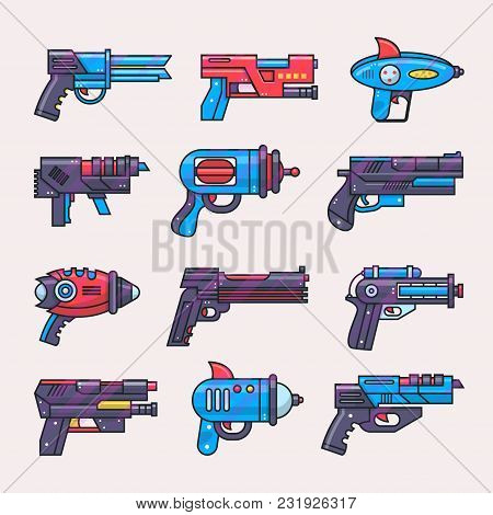 Cartoon Gun Vector Toy Blaster For Kids Game With Futuristic Handgun And Raygun Of Aliens In Space I