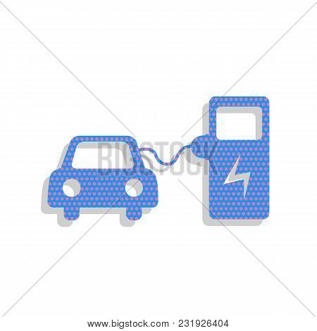 Electric Car Battery Charging Sign. Vector. Neon Blue Icon With Cyclamen Polka Dots Pattern With Lig