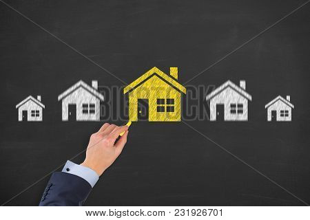Human Hand Drawing Home Choose On Blackboard