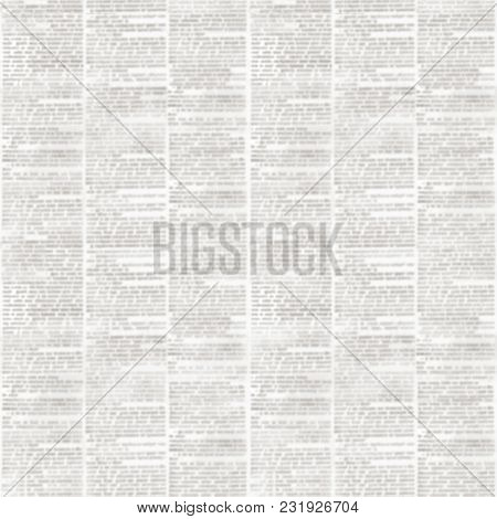 Old Grunge Unreadable Vintage Newspaper Paper Texture Square Seamless Pattern. Blurred Newspaper Bac