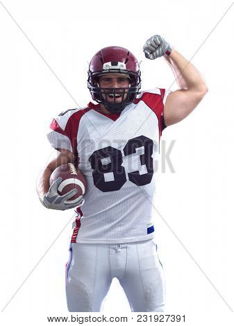 american football player celebrating touchdown isolated on white background