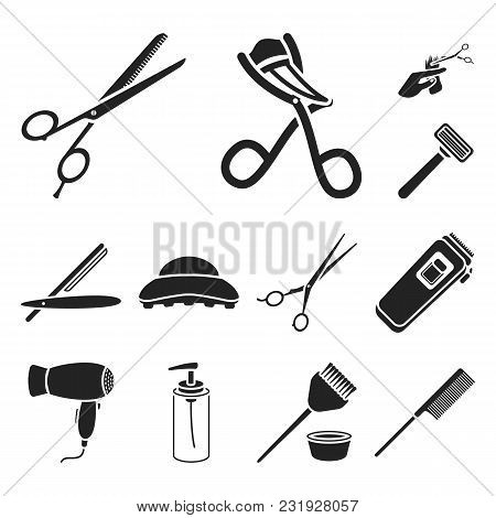 Hairdresser And Tools Black Icons In Set Collection For Design.profession Hairdresser Vector Symbol