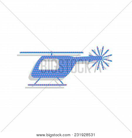 Helicopter Sign Illustration. Vector. Neon Blue Icon With Cyclamen Polka Dots Pattern With Light Gra