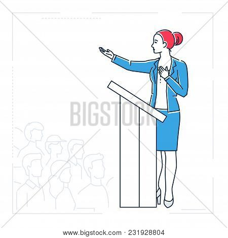 Businesswoman Speaking From A Platform - Line Design Style Isolated Illustration On White Background