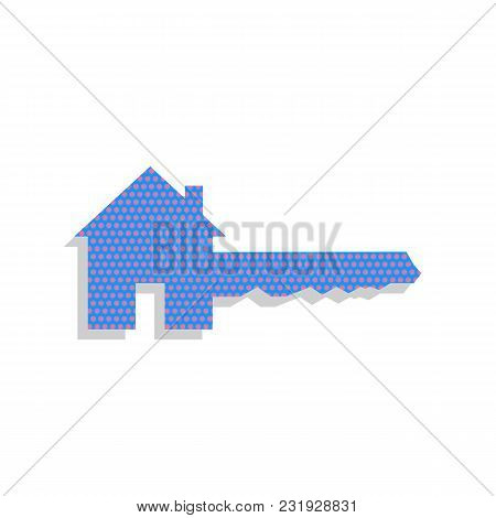 Home Key Sign. Vector. Neon Blue Icon With Cyclamen Polka Dots Pattern With Light Gray Shadow On Whi