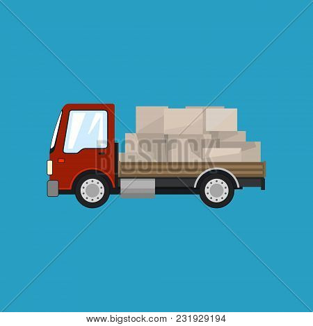 Red Small Cargo Truck With Boxes Isolated On A Blue Background, Delivery Services, Logistics, Shippi