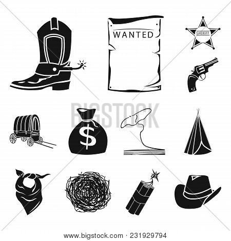 Attributes Of The Wild West Black Icons In Set Collection For Design.texas And America Vector Symbol