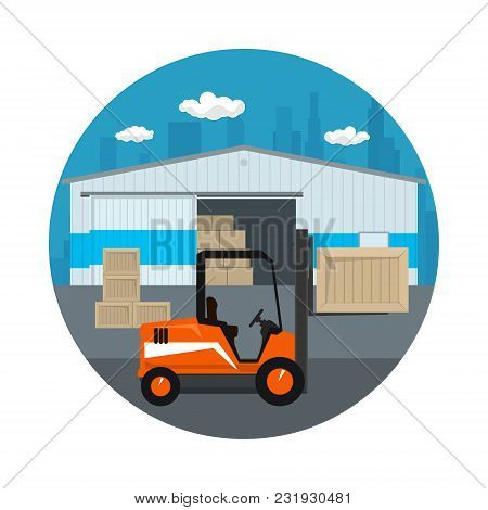 Icon Warehouse And Transport Services , Forklift Truck Unloading Or Loading Boxes On The Background