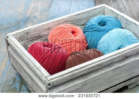 Knitting Yarn In A Old Wooden Box