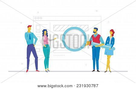 Business Planning - Flat Design Style Colorful Illustration On White Background. Metaphorical Compos