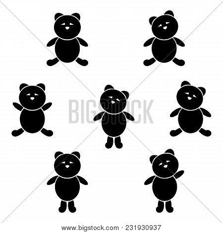 Cute Bear Icon Set. Black On White. Vector Illustration.