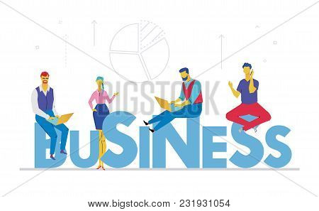 Business - Flat Design Style Colorful Illustration On White Background With Bright Heading And Linea