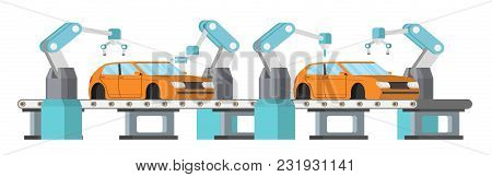 Car Assembly Line. Automatic Auto Production Conveyor. Robotic Car Machinery Industry Concept. Vecto