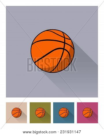 Basketball Ball Different Backgrounds Icon Set. Vector Basketball Ball Flat Style Illustrations