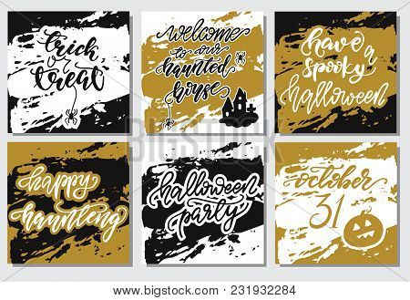 Set Of Halloween Lettering Card Designs. Vector Illustration.