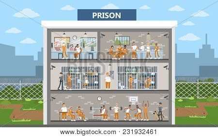 Male Prison Interior City Building With Prisoners And Police Officers.