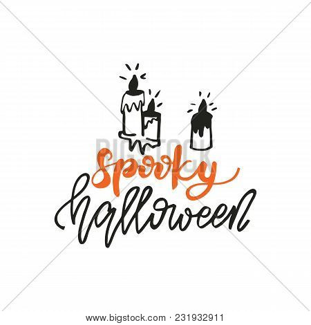 Lettering Design Phrase Spooky Halloween. Vector Illustration.