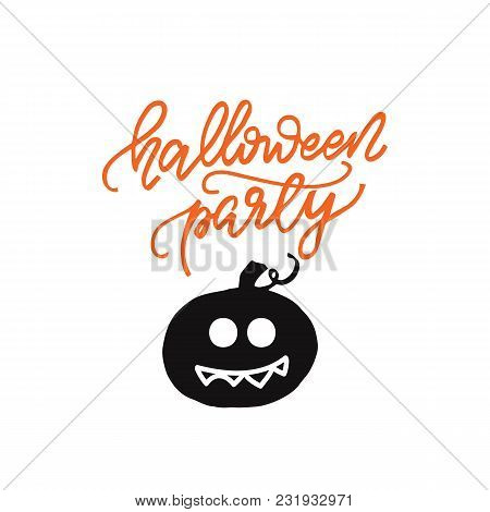Lettering Design Phrase Halloween Party. Vector Illustration.