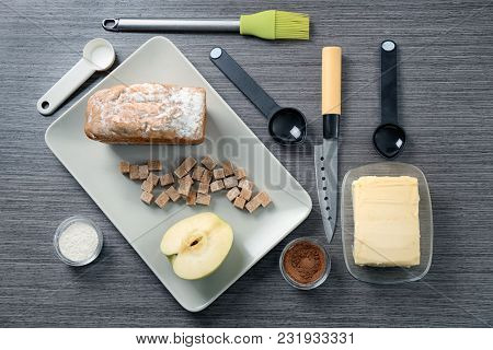 Set of kitchen utensils with products on wooden background. Cooking master classes