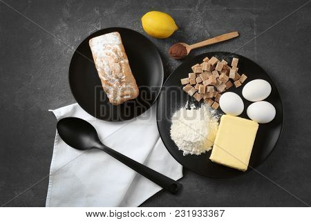 Set of kitchen utensils with products on grey background. Cooking master classes