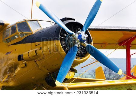 Plasy, Czech Republic - April 30 2017: Yellow Antonov An-2 Stands On Airfield On April 30, 2017 In P