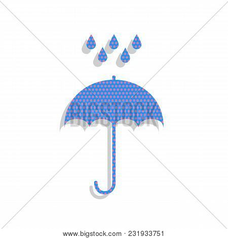 Umbrella With Water Drops. Rain Protection Symbol. Flat Design Style. Vector. Neon Blue Icon With Cy