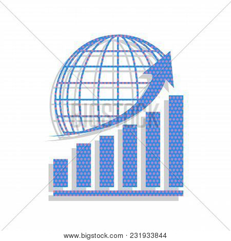 Growing Graph With Earth. Vector. Neon Blue Icon With Cyclamen Polka Dots Pattern With Light Gray Sh