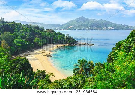 Picturesque View Of Andaman Sea In Phuket Island, Thailand. View Through The Jungle On The Beautiful