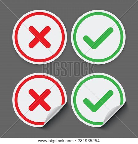 Red And Green Check Mark Stickers. Vector Check Mark Icons