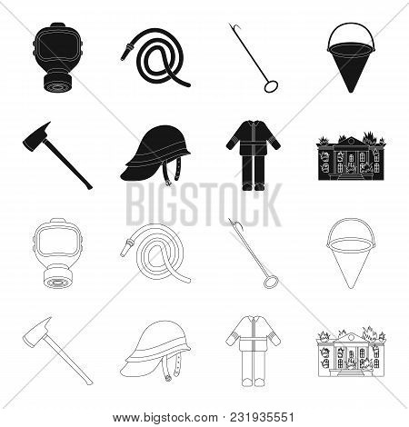 Ax, Helmet, Uniform, Burning Building. Fire Departmentset Set Collection Icons In Black, Outline Sty