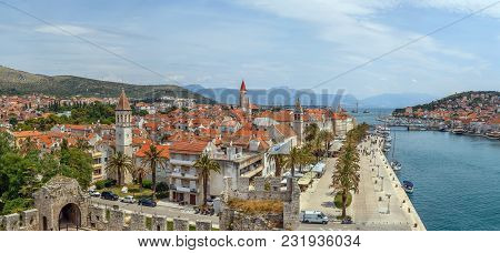 Panoramic View Of Trogir Old Town From Kamerlengo Fortress, Croatia