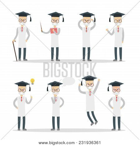 Set Of Old Professor Characters. Simple Vector Illustration