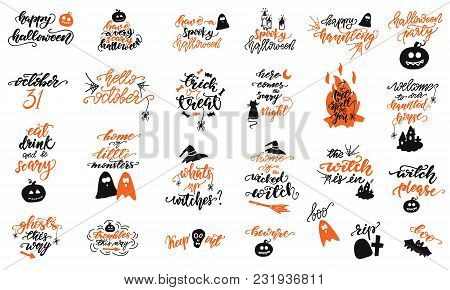 Set Of Halloween Lettering Designs. Vector Illustration.