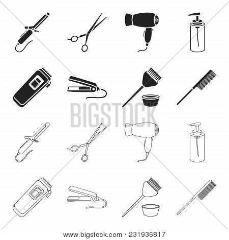 Trim, Hair Coloring, Comb, Straightener. Hairdresser Set Collection Icons In Black, Outline Style Ve