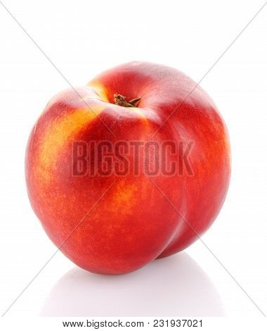 Red And Ripe Peach Isolated On White, Close-up