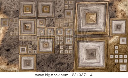 Grid Of Different Size Squares On A Wooden Background. 2d Illustration