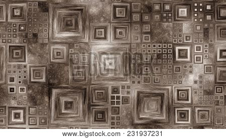Grid Of Different Size Squares Like A Picture Frames On A Wooden Background. Monochrome Image. 2d Il
