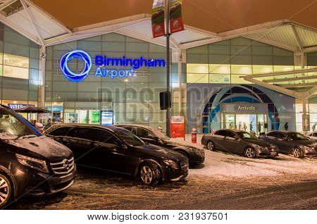 Birmingham, United Kingdom - March 02 2018 : View Of Birmingham Airport At Night In Birmingham, Unit